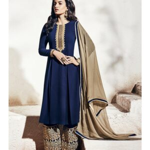 1003-A NAVY BLUE NAIRRA BY NAKKASHI PARTY WEAR SUIT