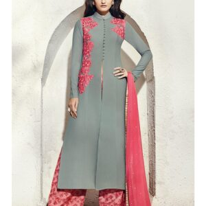 1004-A LILAC GREY NAIRRA BY NAKKASHI PARTY WEAR SUIT