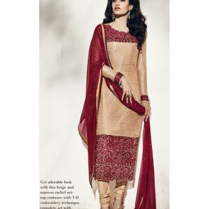 1005-A BEIGE AND BURNT HENNA RED NAIRRA BY NAKKASHI PARTY WEAR SUIT