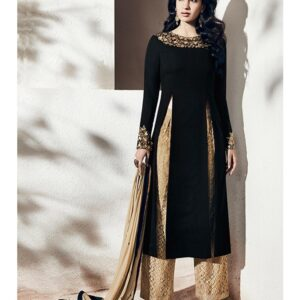 1006-A BLACK AND BEIGE NAIRRA BY NAKKASHI PARTY WEAR SUIT