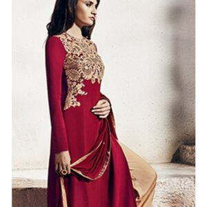 1007-B MAROON AND BEIGE NAIRRA BY NAKKASHI PARTY WEAR SUIT