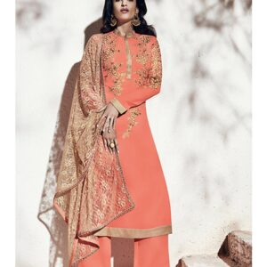 1008-A PEACH ECHO NAIRRA BY NAKKASHI PARTY WEAR SUIT