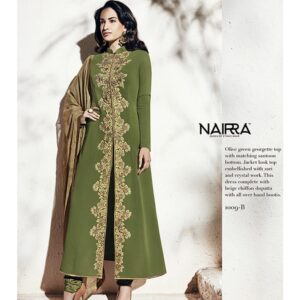 1009-B OLIVE GREEN NAIRRA BY NAKKASHI PARTY WEAR SUIT