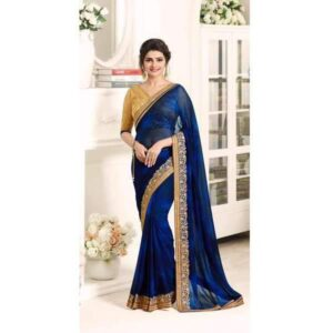 17701 TRUE BLUE AND GOLD KASEESH PRACHI GEORGETTE SAREE WITH HEAVY EMBROIDERED BLOUSE