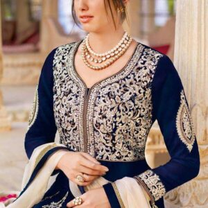 7299 BLUE AND BEIGE FLORAL TULIP HEAVY EMBROIDERED LEHENGA