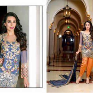 5006 BLUE AND ORANGE SALWAR KAMEEZ MEENAZ ASIM JOFA PAKISTANI STYLE SUIT