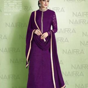 1010-B DARK PURPLE ELEGANT NAIRRA NAKKASHI STRAIGHT CUT SUIT