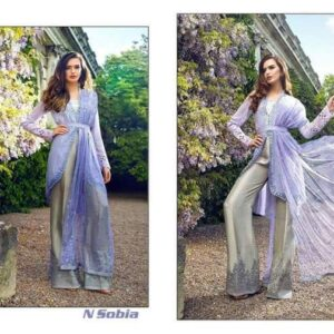 1001 SERENITY BLUE AND SILVER SOBIA NIZAR EMBRIODERED SALWAR SUIT