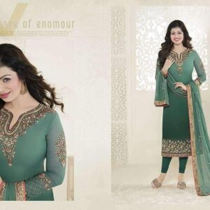 21051 GREEN FIONA AYESHA TAKIA PARTY WEAR SEMI STITCHED SALWAR SUIT