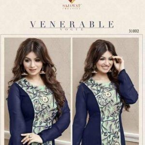 31002 SAJAWAT CREATION AYESHA TAKIA BLUE GEORGETTE ANARKALI SUIT