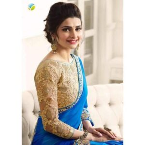 17707 BLUE KASEESH PRACHI GEORGETTE SAREE WITH HEAVY EMBROIDERED BLOUSE