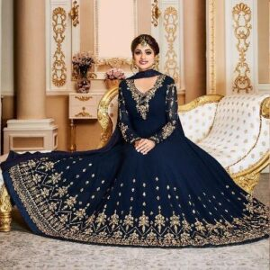 17001 NAVY BLUE AASHIRWAD WEDDING WEAR ANARKALI DRESS