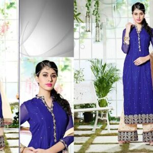 3104 CLASSIC BLUE AND BEIGE GEORGETTE PALAZZO STYLE SALWAR SUIT