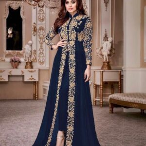 8001-C BLUE AASHIRWAD DESIGNER SLIT STYLE ANARKALI SUIT READYMADE MEDIUM IN STOCK