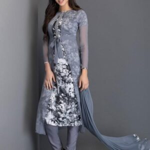AC-26 GREY BELTED JACKET STYLE SHEER READY MADE DRESS