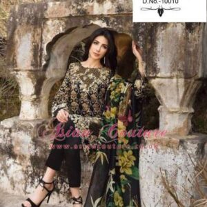 10010 BLACK DEEPSY FLORENT-4 PURE CAMBRIC COTTON EMBROIDERED PAKISTANI SUIT