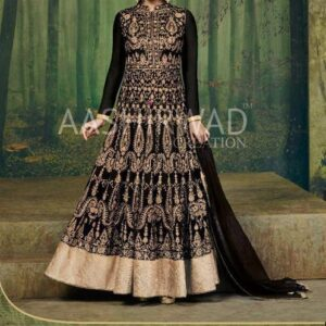 3004-B BLACK AASHIRWAD DIA MIRZA HEAVY EMBROIDERED WEDDING DRESS