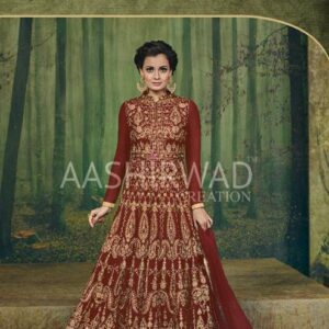 3004-C RED AASHIRWAD DIA MIRZA HEAVY EMBROIDERED WEDDING DRESS