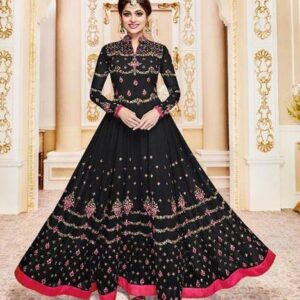 001 F BLACK AASHIRWAD WEDDING WEAR SEMI STITCHED ANARKALI DRESS