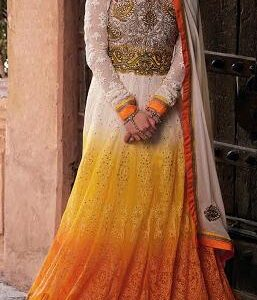1146 Cream and Yellow Aditya Embroidered Anarkali Suits in Shaded Georgette