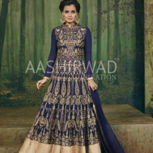 3004 BLUE AASHIRWAD DIA MIRZA HEAVY EMBROIDERED WEDDING ANARKALI DRESS
