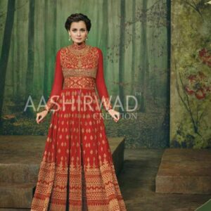 3002 RED AASHIRWAD DIA MIRZA HEAVY EMBROIDERED WEDDING DRESS