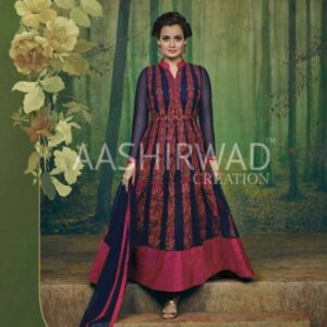 3003 NAVY BLUE AASHIRWAD DIA MIRZA HEAVY EMBROIDERED WEDDING DRESS