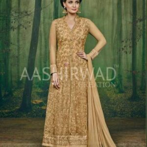 3001 GOLD AASHIRWAD DIA MIRZA HEAVY EMBROIDERED WEDDING DRESS
